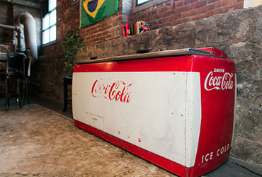 Self serve beverages from our vintage coke cooler at Terminus 330